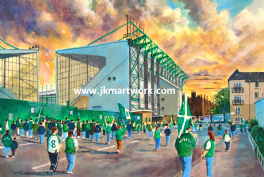 Hand Painted original of easter road going to the match